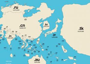 Карту мира перерисовали по национальным доменам