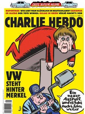 """Первый выпуск Charlie Hebdo на немецком вышел с карикатурой на Меркель: """"Новая выхлопная труба - и тебя хватит еще на четыре года"""""""
