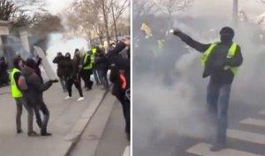 В центре Парижа при взрыве полицейской гранаты одному из протестующих оторвало кисть руки