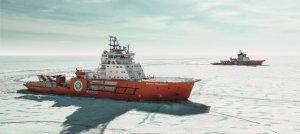 """Ледоколы-близнецы """"Газпром нефти"""" испытали себя на """"ледовом полигоне"""""""