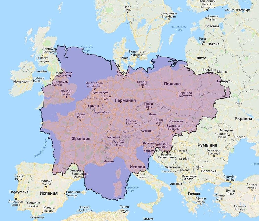 Якутия (население 967 тыс. человек) и Европа
