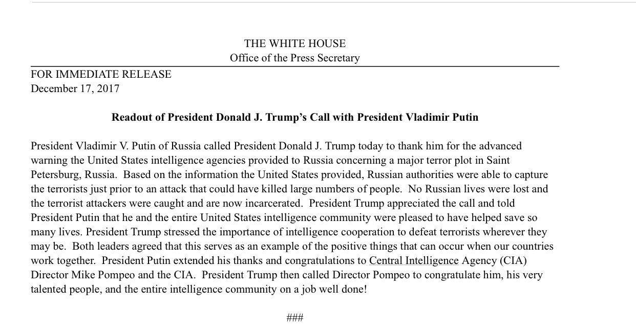 Трамп и разведка США были рады оказать помощь России и спасти много жизней