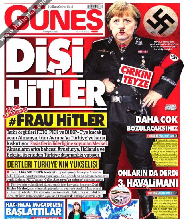 Турецкая газета изобразила Меркель в нацистской форме