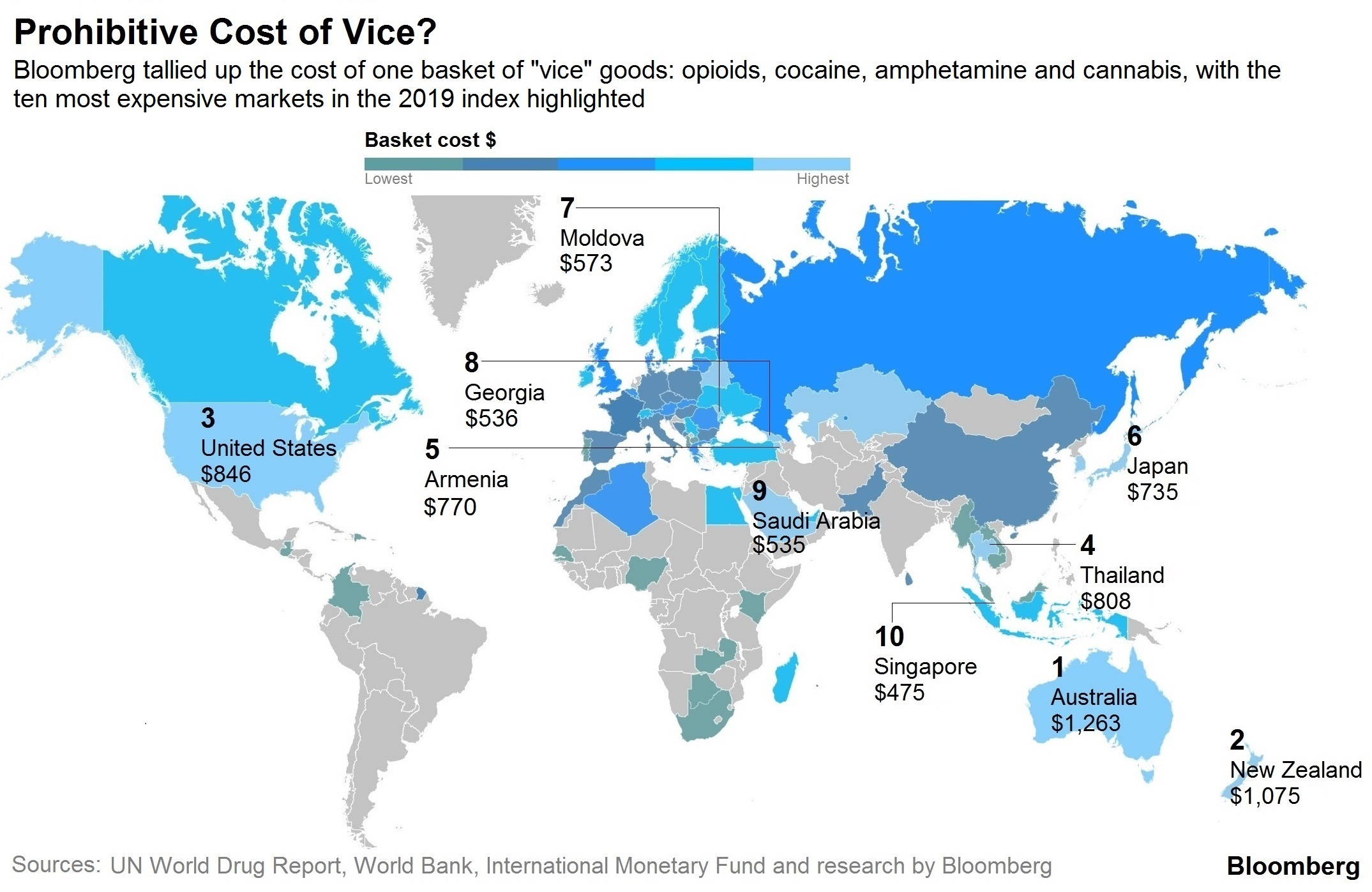 """Bloomberg представил """"индекс порока"""" разных стран (Россия в нём занимает 48 место из 50)"""